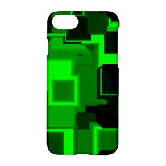 Green Cyber Glow Pattern Apple Iphone 7 Hardshell Case by Simbadda