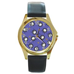 Rockets In The Blue Sky Surrounded Round Gold Metal Watch by Simbadda