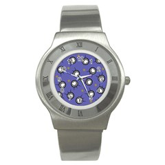 Rockets In The Blue Sky Surrounded Stainless Steel Watch