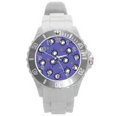 Rockets In The Blue Sky Surrounded Round Plastic Sport Watch (l) by Simbadda