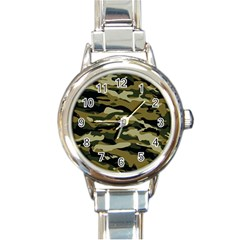 Military Vector Pattern Texture Round Italian Charm Watch by Simbadda