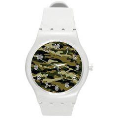 Military Vector Pattern Texture Round Plastic Sport Watch (m) by Simbadda