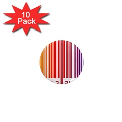 Colorful Gradient Barcode 1  Mini Magnet (10 Pack)  by Simbadda