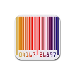 Colorful Gradient Barcode Rubber Coaster (square)  by Simbadda