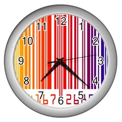 Colorful Gradient Barcode Wall Clocks (silver)
