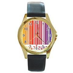 Colorful Gradient Barcode Round Gold Metal Watch by Simbadda