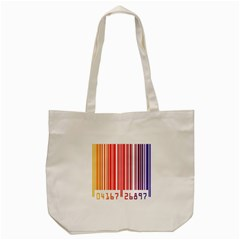 Colorful Gradient Barcode Tote Bag (cream) by Simbadda