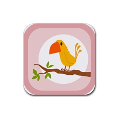 Yellow Bird Tweet Rubber Square Coaster (4 Pack)  by Alisyart