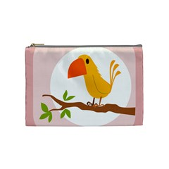 Yellow Bird Tweet Cosmetic Bag (medium)  by Alisyart