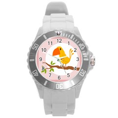 Yellow Bird Tweet Round Plastic Sport Watch (l) by Alisyart