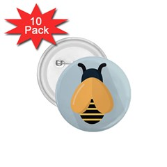 Animals Bee Wasp Black Yellow Fly 1 75  Buttons (10 Pack)