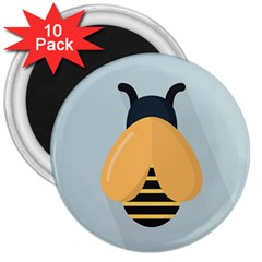 Animals Bee Wasp Black Yellow Fly 3  Magnets (10 Pack)