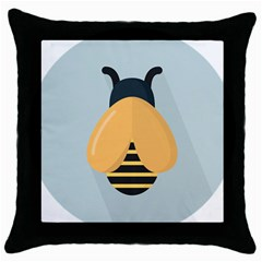 Animals Bee Wasp Black Yellow Fly Throw Pillow Case (black) by Alisyart