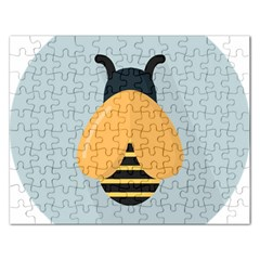 Animals Bee Wasp Black Yellow Fly Rectangular Jigsaw Puzzl
