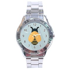 Animals Bee Wasp Black Yellow Fly Stainless Steel Analogue Watch