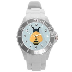 Animals Bee Wasp Black Yellow Fly Round Plastic Sport Watch (l) by Alisyart