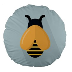 Animals Bee Wasp Black Yellow Fly Large 18  Premium Round Cushions