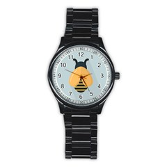 Animals Bee Wasp Black Yellow Fly Stainless Steel Round Watch