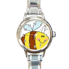 Animals Bee Wasp Smile Face Round Italian Charm Watch by Alisyart