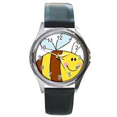 Animals Bee Wasp Smile Face Round Metal Watch by Alisyart