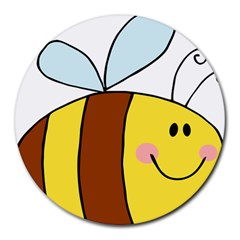 Animals Bee Wasp Smile Face Round Mousepads by Alisyart