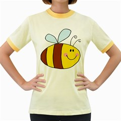 Animals Bee Wasp Smile Face Women s Fitted Ringer T Shirts