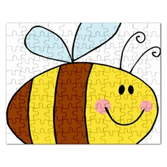 Animals Bee Wasp Smile Face Rectangular Jigsaw Puzzl