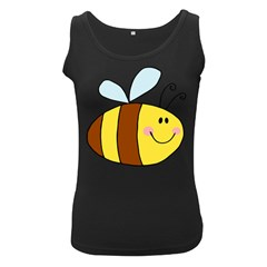 Animals Bee Wasp Smile Face Women s Black Tank Top