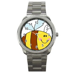 Animals Bee Wasp Smile Face Sport Metal Watch
