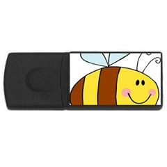 Animals Bee Wasp Smile Face Usb Flash Drive Rectangular (4 Gb) by Alisyart