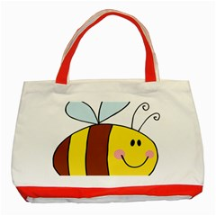 Animals Bee Wasp Smile Face Classic Tote Bag (red) by Alisyart