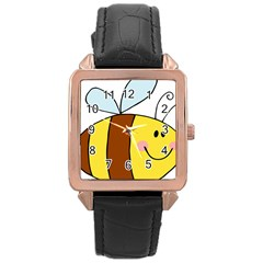 Animals Bee Wasp Smile Face Rose Gold Leather Watch