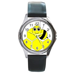 Bee Wasp Yellow Round Metal Watch