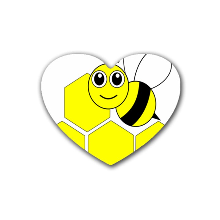 Bee Wasp Yellow Rubber Coaster (Heart)