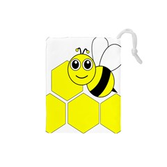 Bee Wasp Yellow Drawstring Pouches (small)