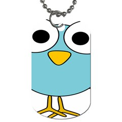 Bird Big Eyes Blue Dog Tag (two Sides)