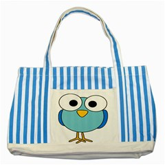 Bird Big Eyes Blue Striped Blue Tote Bag