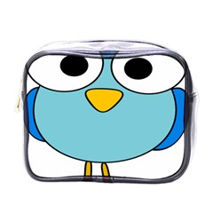Bird Big Eyes Blue Mini Toiletries Bags