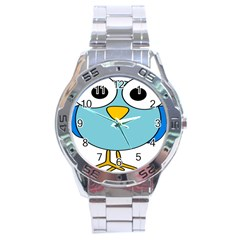 Bird Big Eyes Blue Stainless Steel Analogue Watch