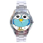 Bird Big Eyes Blue Stainless Steel Analogue Watch Front