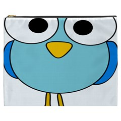 Bird Big Eyes Blue Cosmetic Bag (xxxl)
