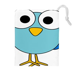 Bird Big Eyes Blue Drawstring Pouches (extra Large) by Alisyart