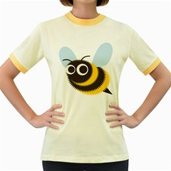 Bee Wasp Face Sinister Eye Fly Women s Fitted Ringer T Shirts
