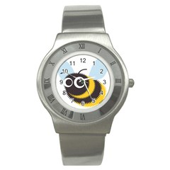 Bee Wasp Face Sinister Eye Fly Stainless Steel Watch by Alisyart