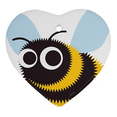 Bee Wasp Face Sinister Eye Fly Heart Ornament (two Sides) by Alisyart