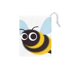 Bee Wasp Face Sinister Eye Fly Drawstring Pouches (small)  by Alisyart
