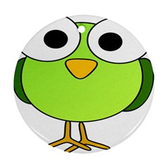 Bird Big Eyes Green Ornament (round) by Alisyart