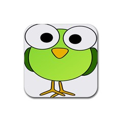 Bird Big Eyes Green Rubber Square Coaster (4 Pack)  by Alisyart