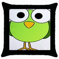 Bird Big Eyes Green Throw Pillow Case (black) by Alisyart