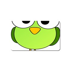 Bird Big Eyes Green Magnet (name Card) by Alisyart